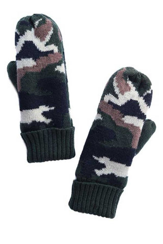 Camo Print Fleece Lined Mittens