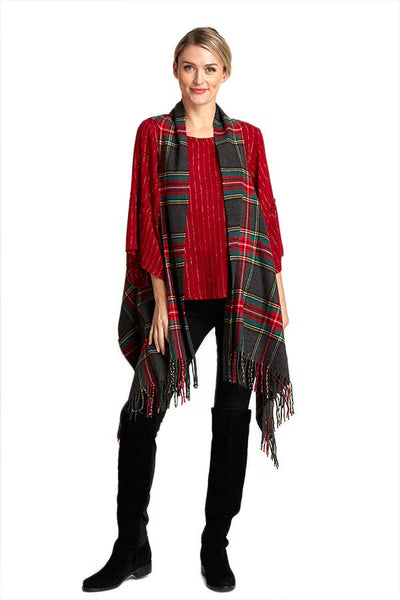 Cap Zone Fringe Plaid Vest