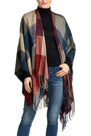 Check Fringe Shawl