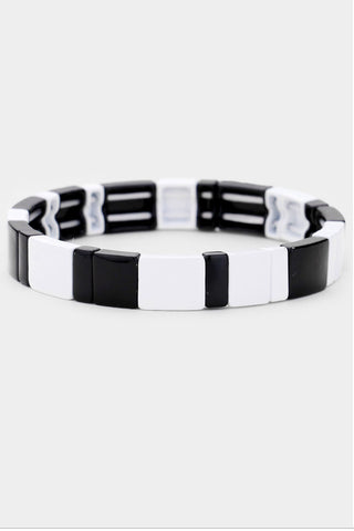 Checkerboard Stretch Block Tile Bracelet