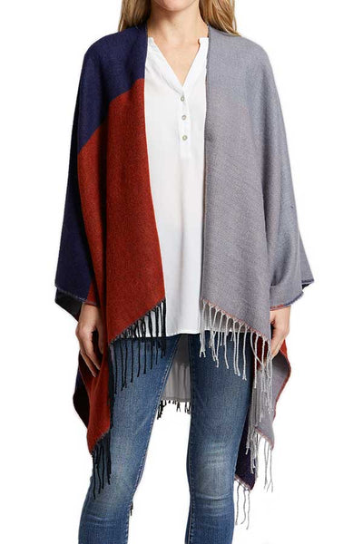 Colorblock Shawl Cape