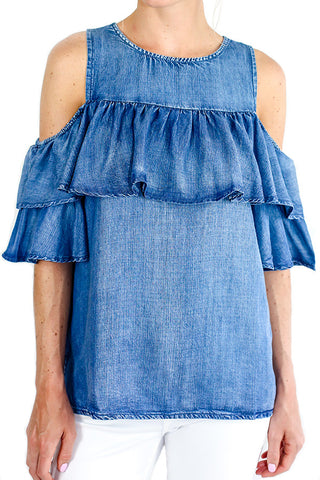 DO + BE Cold Shoulder Chambray Top