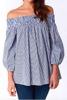 DO + BE Pin Stripe Off Shoulder Top