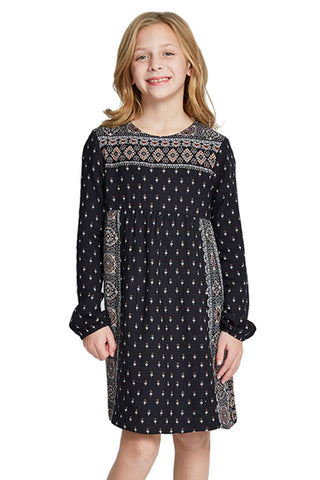 Dex Kids Printed Long Sleeve Dress