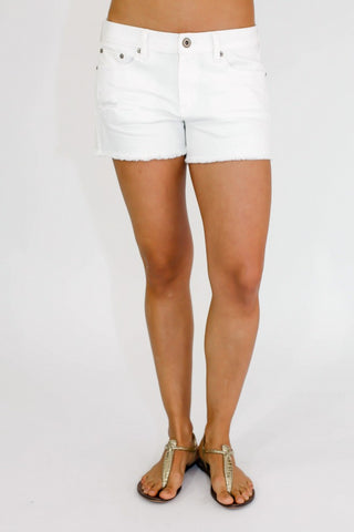 Dex Distressed White Cutoff Shorts