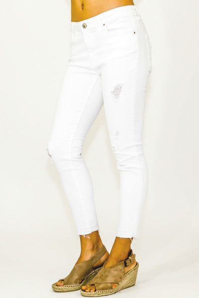 Dex Distressed Skinny White Ankle Jean