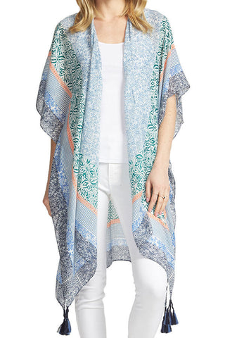 Do Everything In Love Blue Kimono with large tassels at side hem