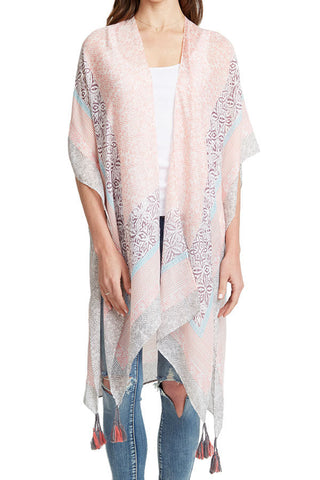 Do Everything In Love Pink Kimono with large tassels at side hem
