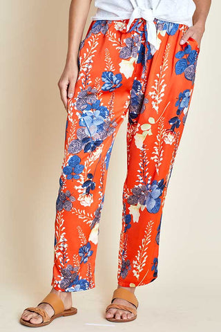 Easel Satin Floral Printed Pants