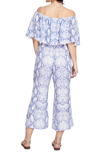 Elan Off Shoulder Printed Jumpsuit