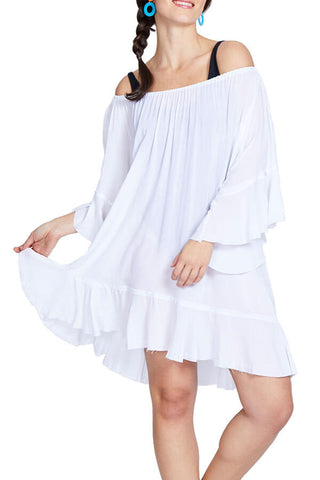 Elan White Off Shoulder Coverup