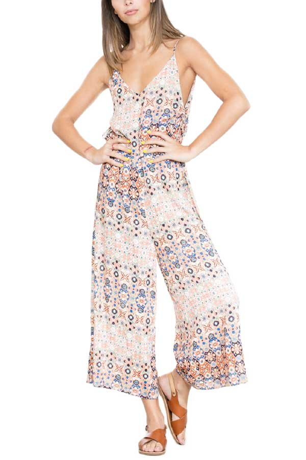 En Creme Printed Jumpsuit/Coverup