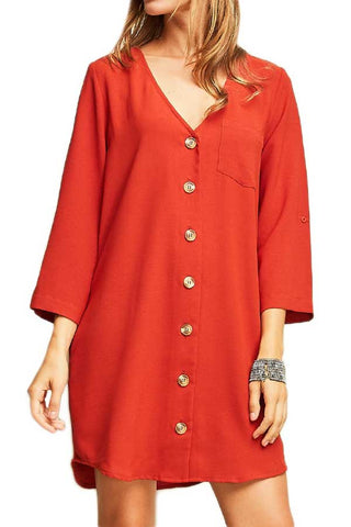 Entro Button Front Red Dress