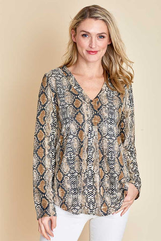 Entro Snakeskin Long Sleeve Top