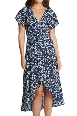 Essue Floral Print Midi Faux Wrap Dress
