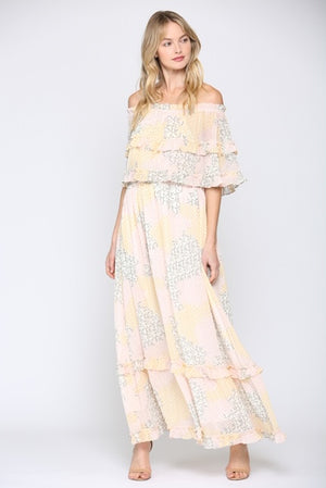 Fate Off The Shoulder Printed Maxi Dress
