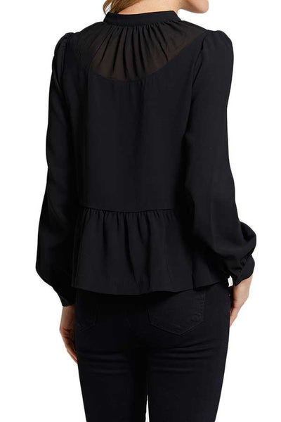 FRNCH Tiered Tie Neck Top