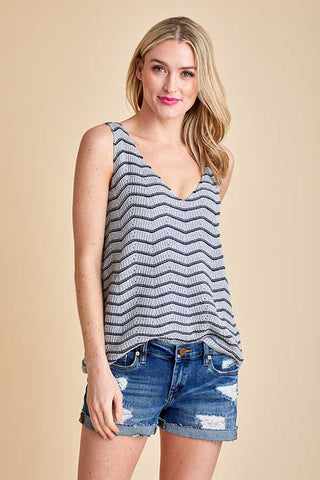 Fate Sleeveless Chevron Tank