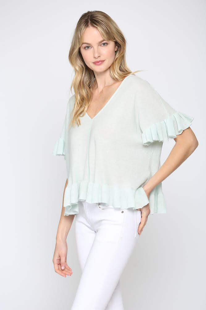 Fate Linen Blend Ruffle Hem Short Sleeve Sweater