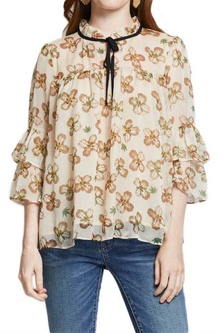 Glam Tie Neck Printed Chiffon Top
