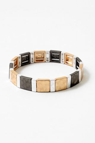 Mixed Metal Stretch Block Bracelet