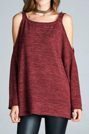 Gold Spark Cold Shoulder Sweater