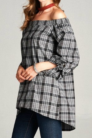 Gold Spark Plaid Off Shoulder Top