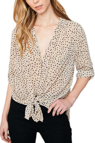 Hayden Button Down Animal Print Top