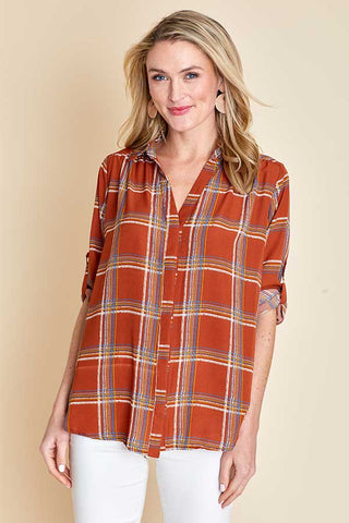 Hayden Button Down Plaid Top