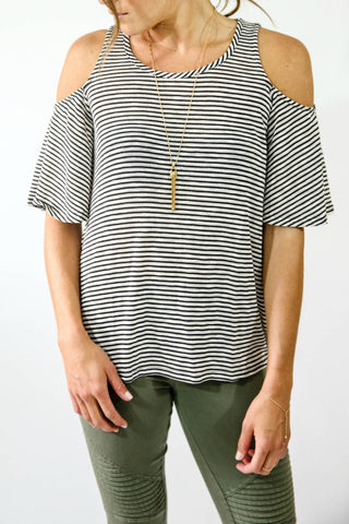 Umgee Cold Shoulder Striped Tee