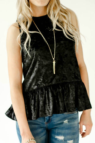 Endless Rose Sleeveless Velvet Peplum Top