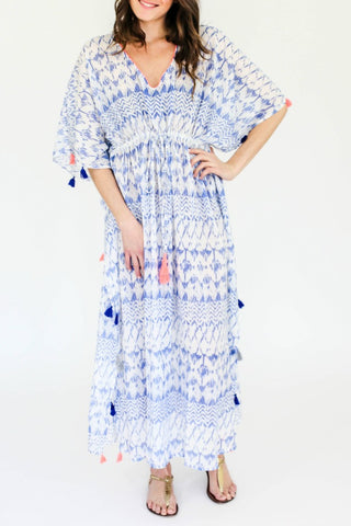 Z&L Blue Long Printed Caftan Coverup