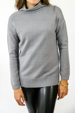 RD Style Grey Fuzzy Turtleneck Sweater