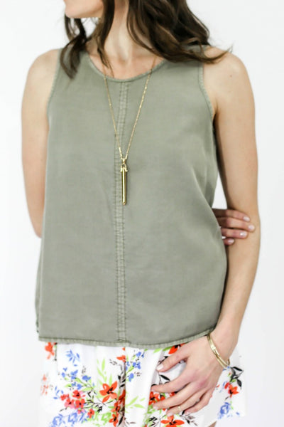 RD Style Chambray Sleeveless Tank