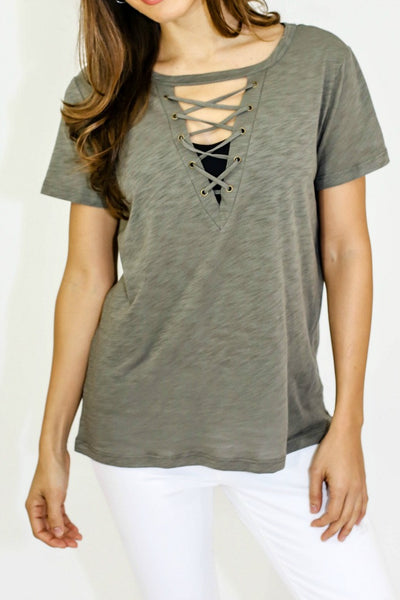 Six Fifty Lace-Up Front Tee