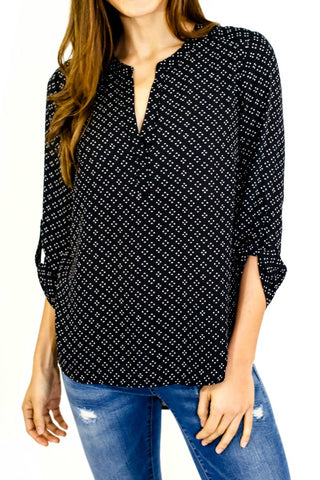 Daniel Rainn Diamond Print 3/4 Sleeve Roll Tab Top