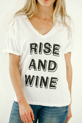 Retro Brand Rise and Wine V-neck Tee