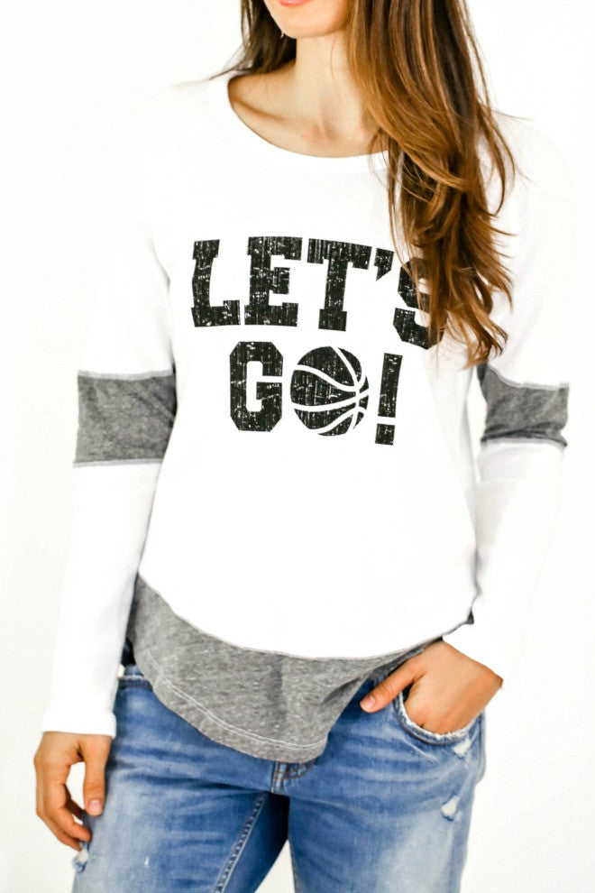 "Retro Brand ""Let's Go"" Basketball Thermal Shirt"
