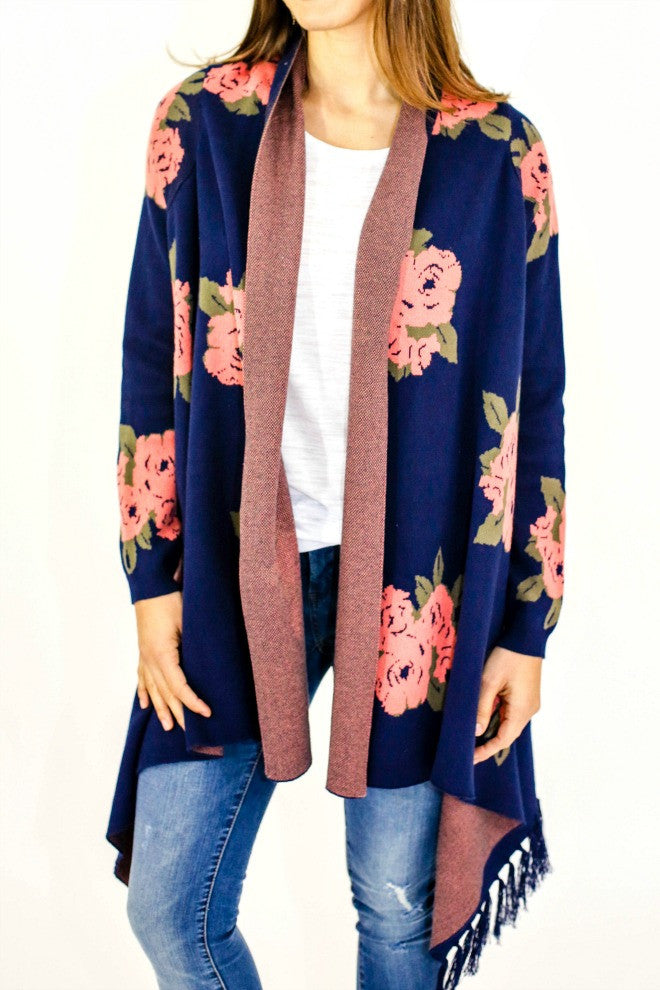 BB Dakota Floral Fringe Sweater Coat
