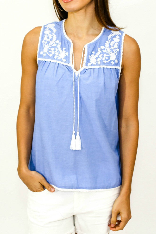 Sugar Lips Sleeveless Embroidered Top