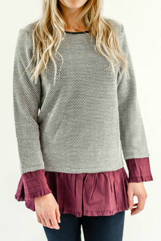THML Sweatshirt with merlot ruffle hem