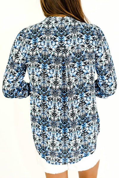 Daniel Rainn Blue Print 3/4 Sleeve Roll Tab Top