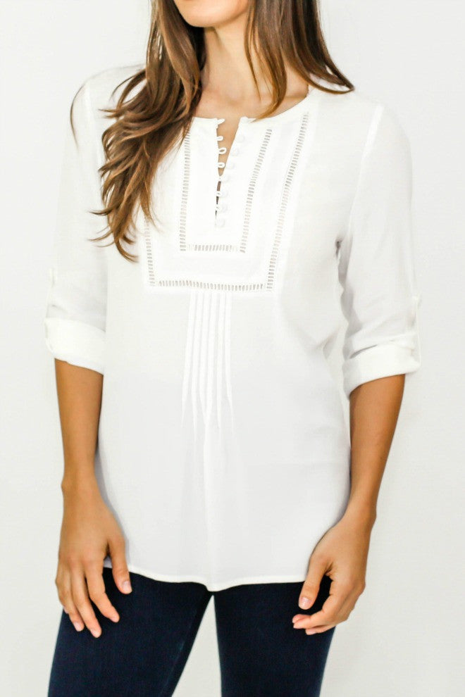 Daniel Rainn Bib Front 3/4 Sleeve Top