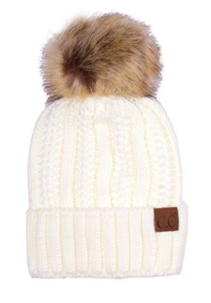 CC Faux Fur Pom Pom Hat with Fuzzy Lining