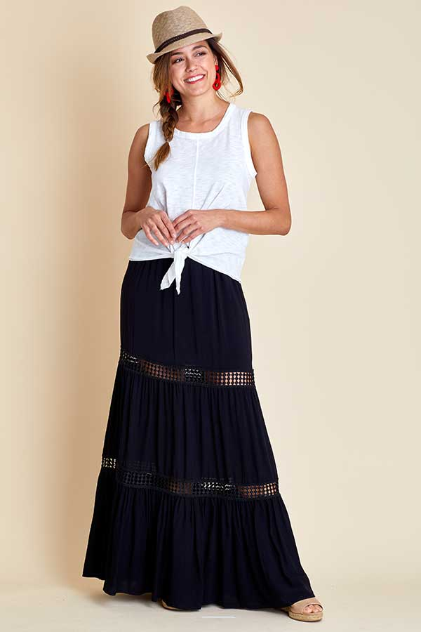 Jack Always Right Rayon Maxi Skirt