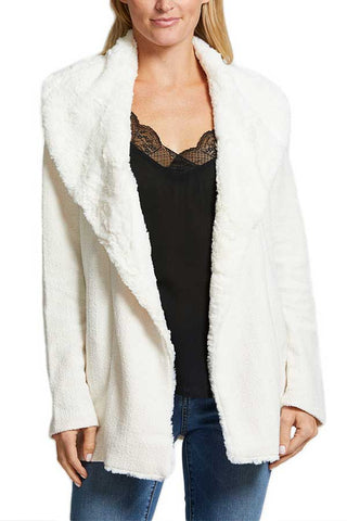 Jack by BB Dakota Late Nights Herringbone Jacket with Faux Fur Wubby Collar