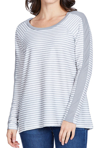 Jack by BB Dakota Stripe French Terry Split Back Top