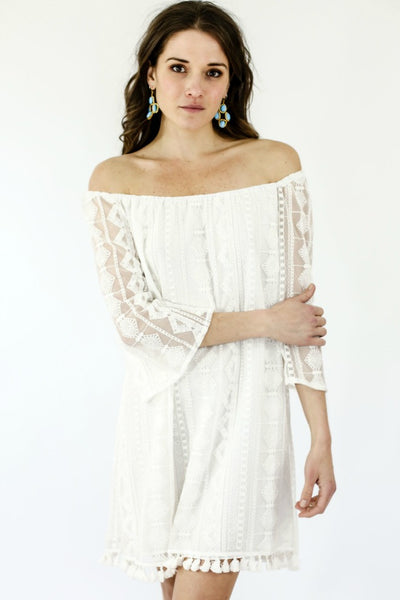 Jack by BB Dakota Embroidered Off the Shoulder Dress