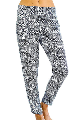 Jack by BB Dakota Blue and White Printed Pants