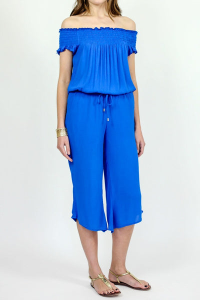 Jack Smocked Off the Shoulder Blue Jumpsuit